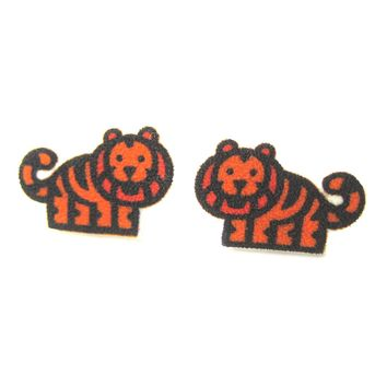 Small Tiger Animal Illustration Stud Earrings | Handmade Shrink Plastic