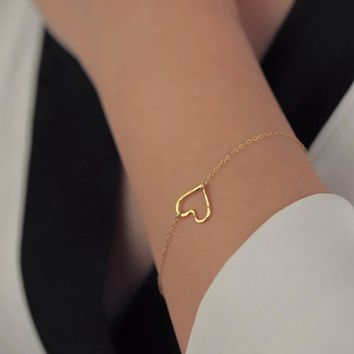 New Fashion Heart Bracelet, Delicate Simple Gold Bracelet, Women Gift For Her SL003