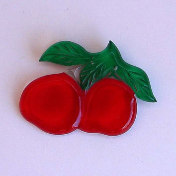 """Lucite Cherry Red Apple Pin 50s Carved Brooch 3"""" Wide By 2 1/2"""" Tall Modernism Vintage Costume Jewelry Accessory Reverse Painted Clear Green"""