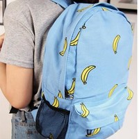 Sweet Cute Banana Print Canvas Backpack