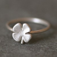 Small Four Leaf Clover Ring in Sterling by MichelleChangJewelry