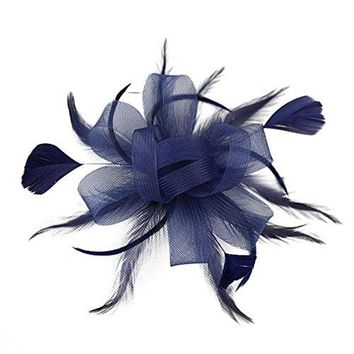 Women Wedding Veil Feather Fascinator Hair Clip Mesh Hairpin Bride Party Headpiece