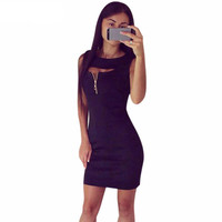 Sheath Summer Dress Womens Sexy Dresses Party Night Club Dress Zipper Closed Chest Vestido De Verao