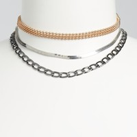 3-Pack Mixed Metal Chain Choker Set