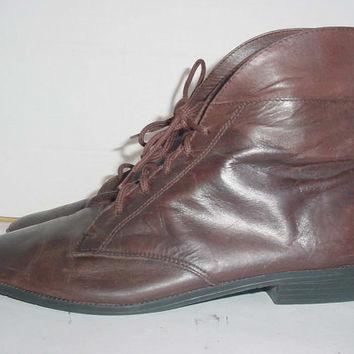 Vintage 1980s Unisex Brown Ankle Boots 7 1/2M or 9 1/2W