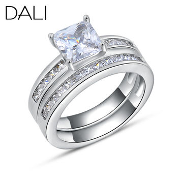 Fashion Woman Finger Ring on Platinum Plated with 0.8 ct Princess Cut Cubic Zirconia Women Wedding Ring Set, 2 Piece/Set DR28