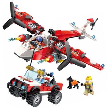ENLIGHTEN City Police Firefighter Forest rescue Helicopter Firemen Aircraft Building Blocks Sets Kids Toys Compatible Legoings