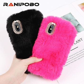 Lovely Rabbit Fur Plush camera diamond Phone Case For iPhone X 6 6S Plus 7 7Plus 8 Plus Cartoon Furry Soft TPU hair Back Cover