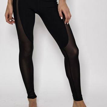 Ana Zabella Black Mesh High Rise Active Pant (with pocket)