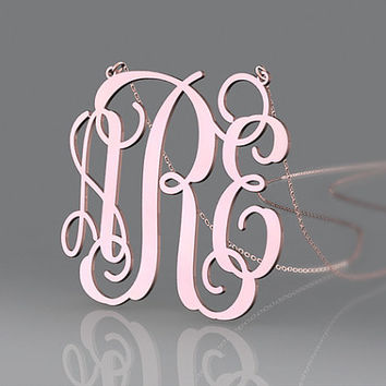 Best rose plated necklace 1.25 inch monogram customized or plated gold/925 sterling silver necklace