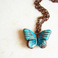 Teal Butterfly Necklace, Hand Painted Polymer Clay pendant