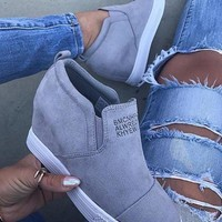New Grey Round Toe Wedges Casual Ankle Shoes