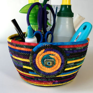Coiled Rope Sewing Room Organizer , Extra Large Clothesline Basket , Jewel Tone Hand Dyed Fiber , Handmade Homemade Fiber Art, Sally Manke