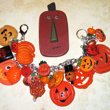 Halloween Charm Bracelet JOL'S  Jack o' Lantern Jewelry Pumpkin Patch OOAK Loaded w/ Eclectic Trinkets Halloween Statement Piece Fun Chunky