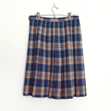 Vintage Preppy Blue Plaid Pendleton Wool Pleated Skirt - Blue and Tan Tartan Knee Length Women's Plus Size Skirt - Size 14Skirt