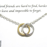 Friendship Best Friend Necklace | Silver A5 Twin Circle | Best Friend Gift, Twin Circle Necklace,  Gift For Friend, Birthday Gift