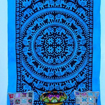 Turquoise Tie Dye Elephant Mandala Tapestry, Living Room Tapestry, Hand Made Bed Sheet, Hippy Wall Hanging, Picnic Beach Sheet.