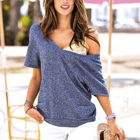 French Terry V-neck Top