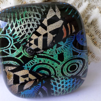 Teal Copper GreenDichroic Glass Cabochon Cab  Mosaic Dichroic Pendant  Upgrade to pendant available  Fused Glass  PMC Wire Wrap