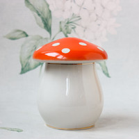 Mushroom Porcelain Box / RARE 1950's - 60's USSR Vintage Golden Tipped Multipurpose Jewelry Box / Sugar Bowl, Soviet Agaric Shroom Candy Jar