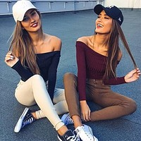 High Fashion off Shoulder Whtie Sweater Women Casual Pullover Crop Top Cropped Sexy Sweaters