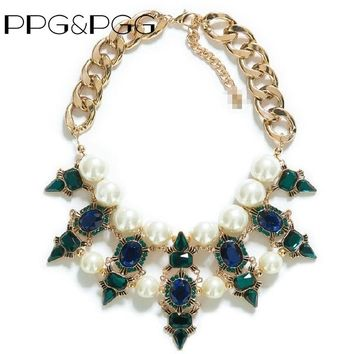 PPG&PGG Luxury Brand Chain Chunky Imitation Pearl Green Crystal Statement Necklace Women Fashion Jewelry