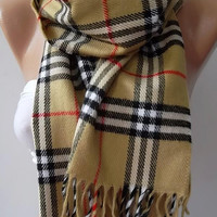 UNISEX Gorgeous Scarf   Elegant and Classy .... Mustard  plaid