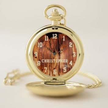 Faux Distressed Wood with Name Retro Pocket Watch