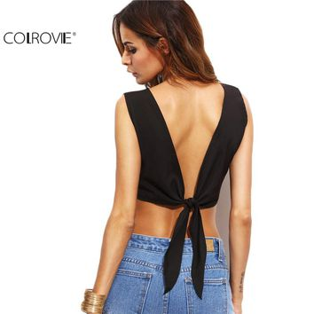COLROVIE Fashion Women Clothing Black V Back Self Tie Crop Top New Summer Solid Round Neck Sleeveless Sexy Tank