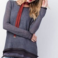 Easel wide neck patterned sweater with chiffon layers