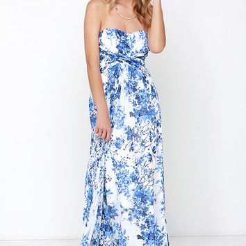 Berry Botanical Ivory and Blue Floral Print Maxi Dress