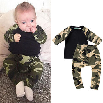 New arrival Winter Newborn Baby Casual long-sleeves Clothing Sets for Boys Camouflage Print Cotton Warm Rompers Toddler Outfits