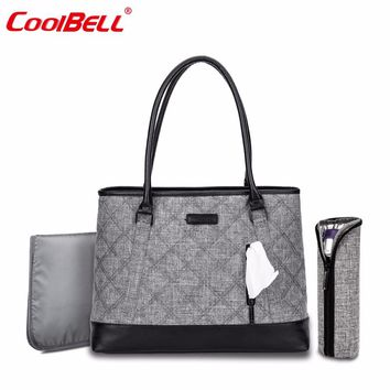 CoolBell Brand Maternity Mummy Bag Baby Diaper Tote Bag Multi-functional Shoulder Bag Leisure Baby Bag With Insulated Pockets