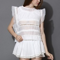 Pixie Full White Top and Shorts Set