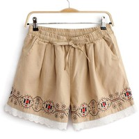 Buy Bohemian Embroidery Lace Bottom Loose Shorts on Shoply.