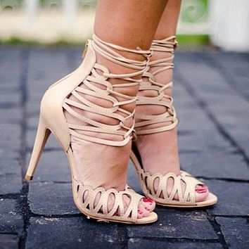 Cut Out Straps Peep Toe Ankle Lace Up Stiletto High Heel Sandals