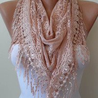 New Scarf - Christmas Gift - Triangular - Lace Shawl - Salmon Lace Scarf - Salmon Scarf with Salmon Lace Trim Edge