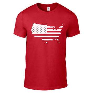 4th of July Independence Day Clothing - US Flag USA Crew Neck - Mens