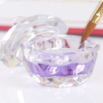 Acrylic Crystal Glass Dappen Dish Nail Art Lid Liquid Powder Container Cup HU