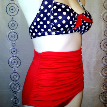 Grace Ruched front High Waist Bikini in Large Navy Dot & Red