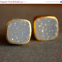 WINTER SALE - Gold Soft White Agate Druzy Stud Earrings - Square Studs - Post Setting, Minimalist, AAA Quality