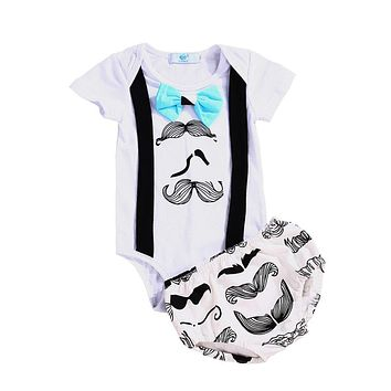 Newborn Infant Baby Girls Boys Suspender Tops Romper Shorts Clothes Outfit Summer Toddler New Arrival Girl Boy Clothing 2PCS SET