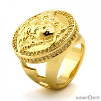14K Yellow Gold CZ Medusa Ring | Urbanwear Rings | King Ice
