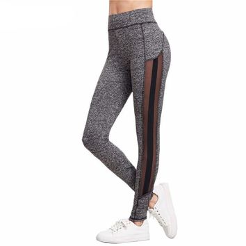 Color Block Fitness Leggings Workout Clothes for Women Grey