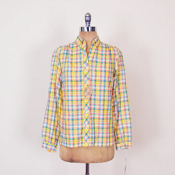 Yellow Plaid Shirt 70s Plaid Blouse Button Up Shirt 3/4 Roll Sleeve Shirt 70s Shirt 80s Shirt 70s Hippie Shirt Preppy Shirt Women S Small