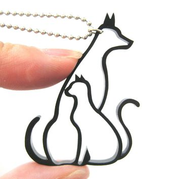 Kitty Cat and Dog Outline Shaped Animal Themed Pendant Necklace in Black Acrylic