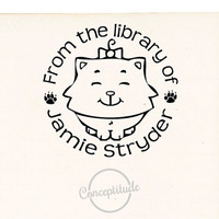 Cat Stamp, Custom Library Stamp, Self Inking Book Stamp 098