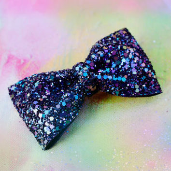 Petrol Mix Glitter Hair Bow Sparkly  Cute Kawaii Glitter Bow