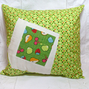 Pillow Cover Patchwork Green Pink Blue Yellow Orange Fruit Polka Dot Print 18x18