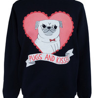 *Mama San Exclusive*Pugs n Kisses Sweat by Gemma Correll ( Navy)